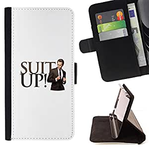 DEVIL CASE - FOR Samsung Galaxy Note 4 IV - Suit Formal Outfit Style Quote Motivational - Style PU Leather Case Wallet Flip Stand Flap Closure Cover