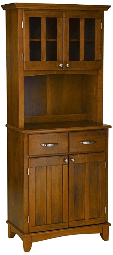 Amazoncom Home Styles Small Wood Bakers Rack With Two Door Hutch