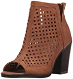 Sugar Women's Vael Perf Open Toe Stacked Block Heel Fashion Ankle Bootie, Whiskey Polyurethane, 8 M US