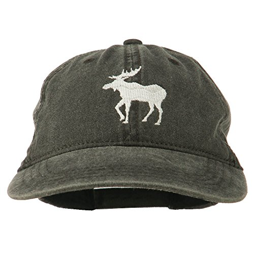 e4Hats.com American Moose Embroidered Washed Cap - Black OSFM -