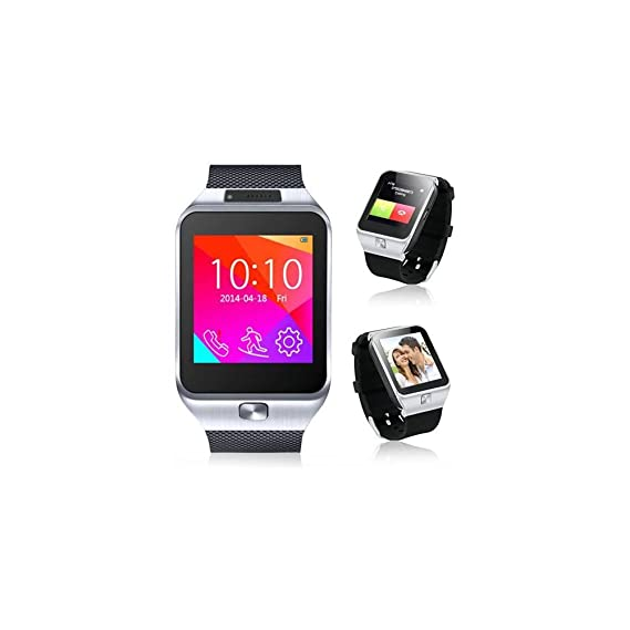 Indigi 2-in-1 Bluetooth + GSM Wireless Smart Watch Phone Cell Phone Camera MP3 Micro Sim Card Slot For AT&T T-mobile (Silver)
