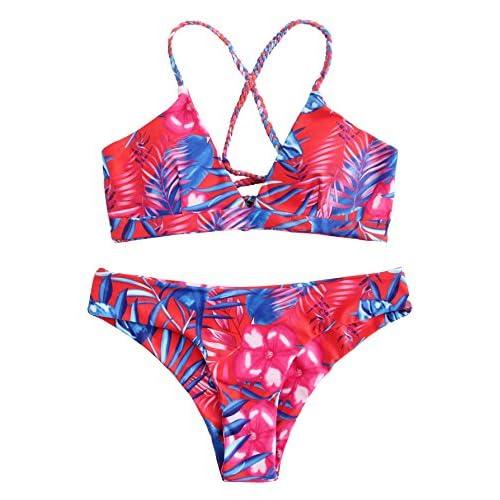 ROMWE Maillots de Bain 2 Pièces Bikini à Bretelle Bikini de Plage Push-up Rembourré PiscineBikinis Dos Nu Bleu