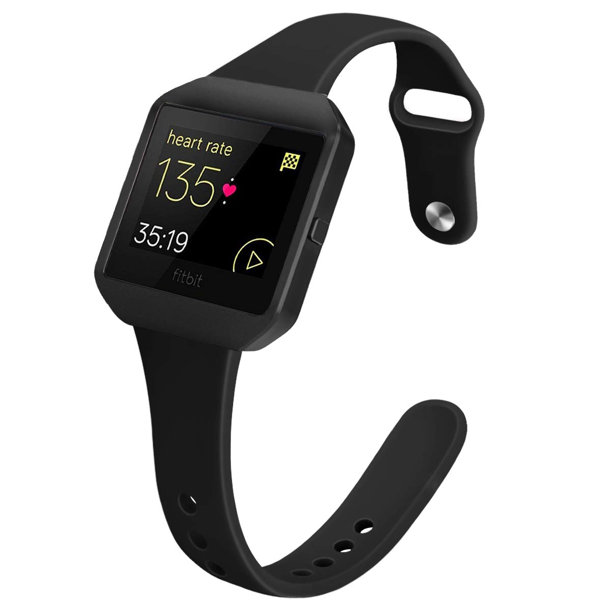 YiJYi Bands Compatible with Fitbit Blaze,Slim Soft Silicone Band with Metal Frame Replacement Strap Wristband for Women Men (Small(5.5''-7.5''), Black+Frame-02)