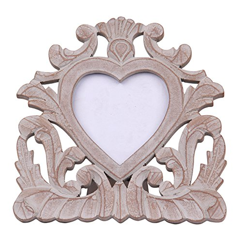 Vintage Wooden Single Picture Photo Frame 4 x 4 with Stand Hand Carved Heart Shape White Distressed Finish French Style Shabby Chic Home Decor