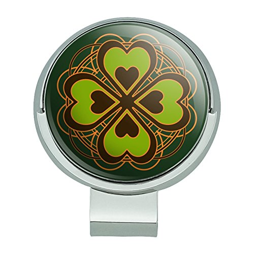 GRAPHICS & MORE Four Leaf Clover Lucky Golf Hat Clip with Magnetic Ball Marker