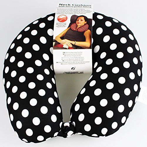 Luxus - Nackenhörnchen / Nackenstütze - BORDEAUX / ROT - ohne lästiges Aufpusten - mit hautsympathischem Ökotex - Softplüsch / Feingewebe - Bezug (Ökotex Standard) und angenehmer Füllung - universell  Motiv W : Dots Black