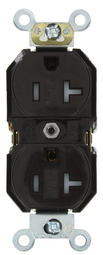 Leviton TBR20 20-Amp, 125-Volt, Tamper-Resistant, Duplex Receptacle, Straight Blade, Commercial Grade, Self Grounding, Brown