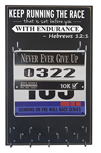 Running On The Wall - Race Bib and Medal Display Rack- Wall Mounted Sports Medal Holder and Hanger for 5K, 10K and Marathons Runners - Keep Running The Race That is Set Before You with Endurance