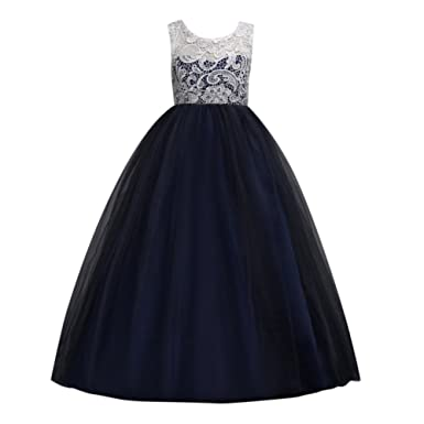 Hougood Girls Prom Dresses Princess Dress Birthday Weddings Party Fancy Dress Ceremony Formal Dresses Lace Tulle