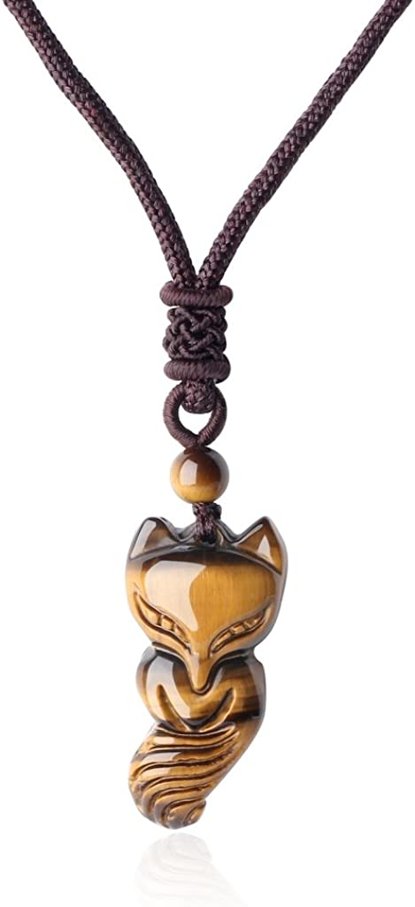 COAI® Collar Ajustable Colgante de Zorro Piedra Semipreciosa de Protección