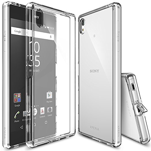 Ringke [Fusion] Compatible with Sony Xperia Z5 Premium Case Crystal Clear PC Back TPU Bumper w/Screen Protector [Drop Protection, Shock Absorption Technology][Attached Dust Cap] - Clear