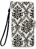 LG K10 2018 Case, LG K30 Case, LG K10 Alpha Case, X4 Plus Case PU Leather Wallet Phone Protective Cover [Kickstand & Wrist Strap][3D Design Black Crown Lace] Flip Full Body Magnetic Stand Accessories