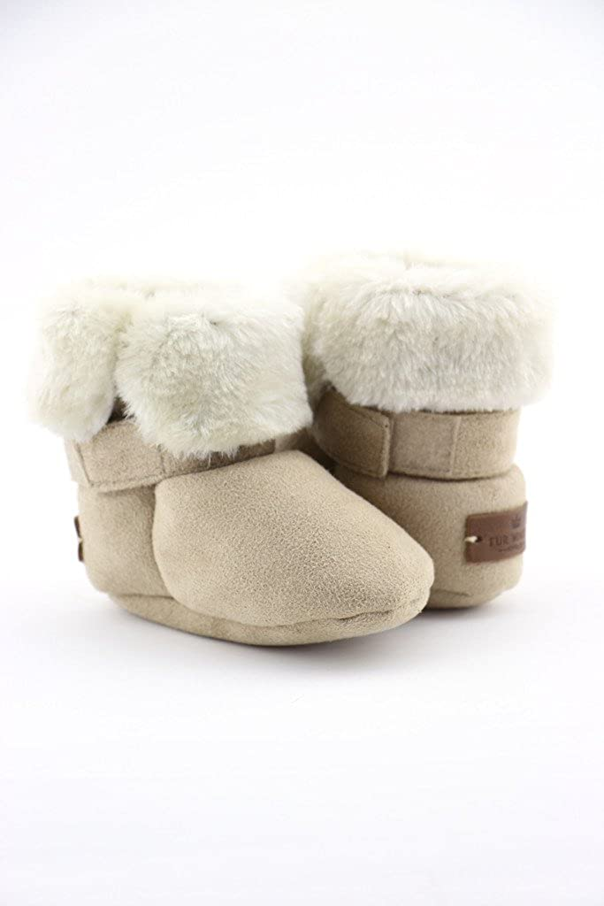 FUR WINTER Faux Suede Shearling Sheepskin Infant Pug Bootie Boot
