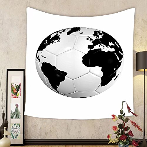 Gzhihine Custom tapestry Ambesonne Sports Decor Collection Soccer Ball on Green Grass Dark Clouds Sunrise Meadow Landscape Picture Print Bedroom Living Room Dorm Tapestry Blue Green White by Gzhihine