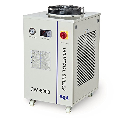 Industrial Water Chiller S&A CW-6000DN Industrial Water Chiller for 100W Solid-State Laser 22KW CNC Spindle 30W-300W Fiber Laser Cooling 1.52HP AC 1P 110V 60Hz