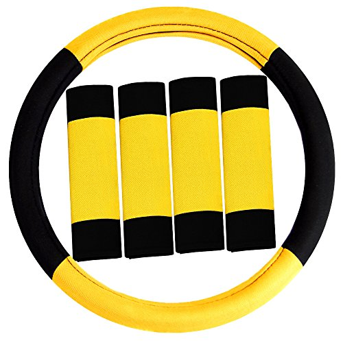FH Group FH2033YELLOW Steering Wheel Cover (Modernistic and Seat Belt Pads Combo Set Yellow)