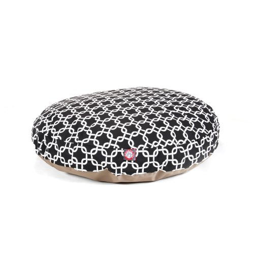 Black Links Large Round Indoor Outdoor Pet Dog Bed With Remo