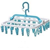 iPenty Kleiderbügel Kunststoff Falten Wäschespinnen, 32 Clips Trocknen Wäschespinnen, Wäscheständer Aufhängen Regal für hängende Socke/Unterwäsche/Zubehör