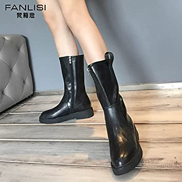 SHOESHAOGE WomenS Shoes Winter Female Boots Coarse Heel Thick Bottom Middle Shoe Boots Plus Velvet Flat Soles...