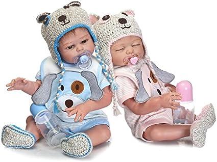 "20/"" Reborn Twins Set Boy/&Girl Full Body Silicone Real Reborn Baby Dolls Washable"