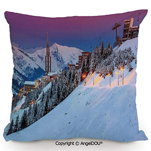 (AngelDOU Pillow Cotton Linen Cushion,Majestic Winter Sunrise Landscape and Ski Resort Spruce Pine Forest French Alps,Coffee Shop Restaurant Sofa Company Gifts.15.7x15.7 inches)