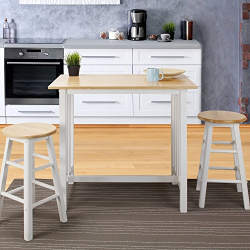 Casual Home 3-Piece Breakfast Set with Solid American Hardwood Top, White by Casual Home (Image #6)
