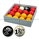 "Red and Yellow 2"" Pool Ball Set with 1 7/8 Inch Cue Ball for Coin Mech Tables"