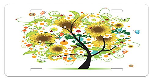 Lunarable Sunflower License Plate by, Floral Tree with Daisies Sunflowers Butterflies Ladybugs Spring Fantasy Joyful, High Gloss Aluminum Novelty Plate, 5.88 L X 11.88 W Inches, Multicolor