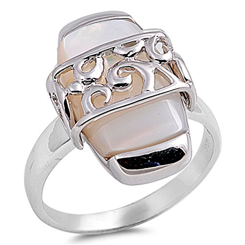 Simulated Mother of Pearl Bar Filigree Design Ring .925 Sterling Silver Band Size 9