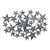 The Americana Barn Star Cluster Wall Art, Handcrafted Metalwork, Vintage Style, Distressed and Weathered Gray Finish, Over 2 Ft Wide, By Whole House Worlds