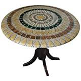 Mosaic Table Cloth Round 36 Inch To 48 Inch Elastic Edge Fitted Vinyl Table Cover Tuscan Tile Pattern Brown Tan