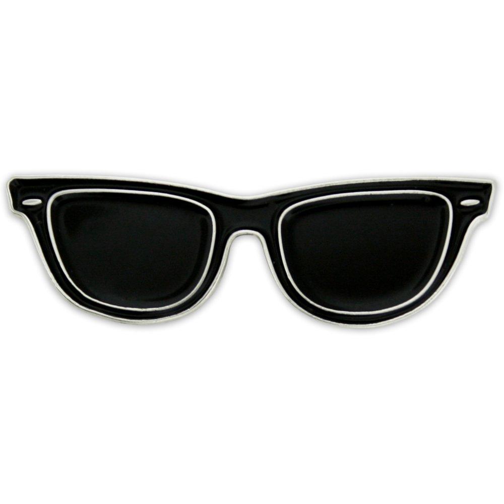 PinMart's Black Sunglasses Trendy Enamel Lapel Pin by PinMart
