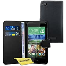 HTC Desire 320 Case, FoneExpert® Premium Leather Flip Book Wallet Case Cover For HTC Desire 320 + Screen Protector & Cloth (Black)