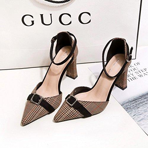 tessuto uno di marrone scarpe alta scarpe ad griglia con video spessore di femminile tacco singolare il sottile tacco moda luce di cotone punta 38 di scarpe alta Punta OTaFzxq