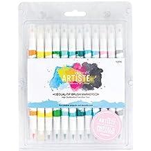 docrafts Artiste Dual Tip Brush Markers, Pastel, 12-Pack