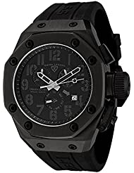 Swiss Legend Mens 10541-BLK Trimix Diver Chronograph Watch with Black Dial and Black Silicone Strap