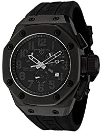 Mens 10541-BLK Trimix Diver Chronograph Watch with Black Dial and Black Silicone Strap