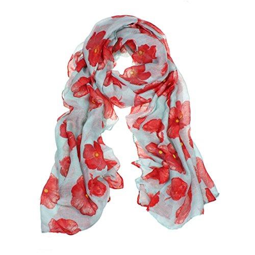 Sumen 2017 New Red Poppy Print Long Scarf Flower Beach Wrap (Green) (New Valance)