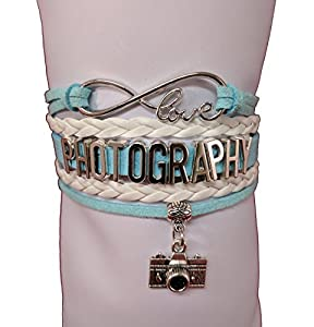 Infinity Love Photography Wrap Bracelet Camera Charm Multilayer Blue White Brown Bracelet