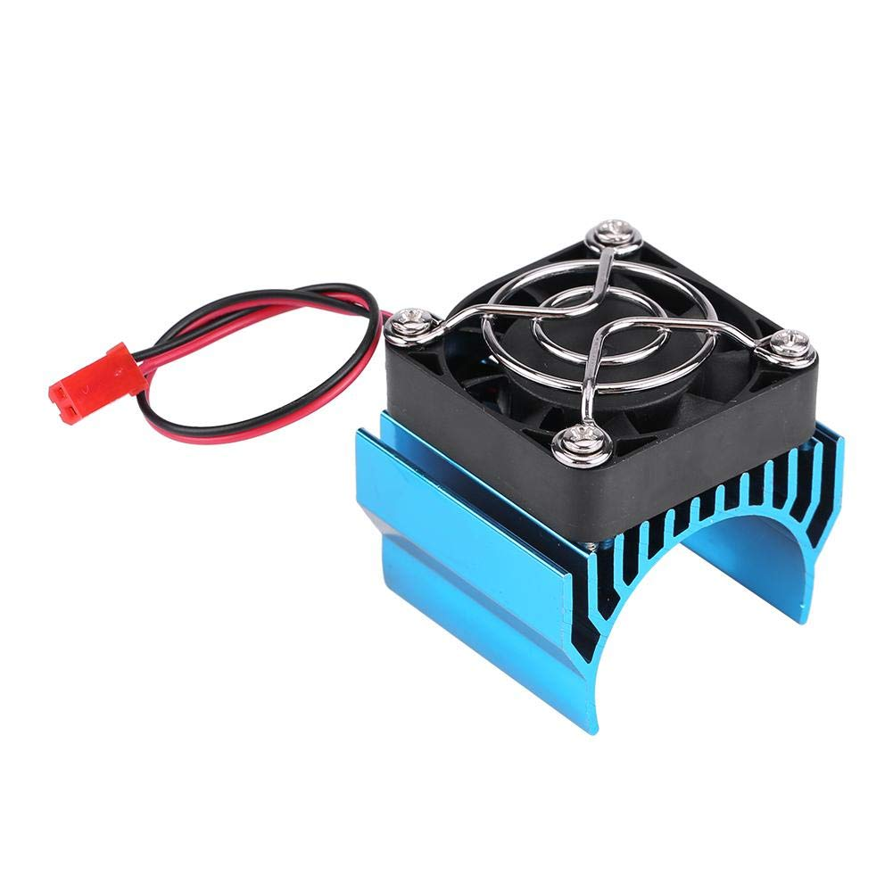 Dilwe RC Motor Heat Sink with Cooling Fan, RC Heat Sink Cooling Fan for 1/10 Scale Electric RC Car 540 / 550 / 3650 Motor Replacement Upgrade Part Accessory(Blue)