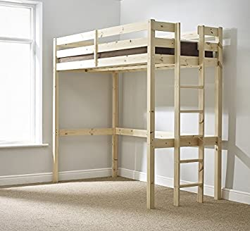 Loft Bunk Bed 3ft Single Wooden High Sleeper Bunkbed Heavy Duty