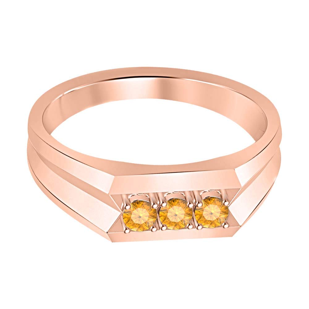 RUDRAFASHION 14k Rose Gold Over Sterling Silver Round Cut Orange Sapphire Mens Anniversary Band Ring