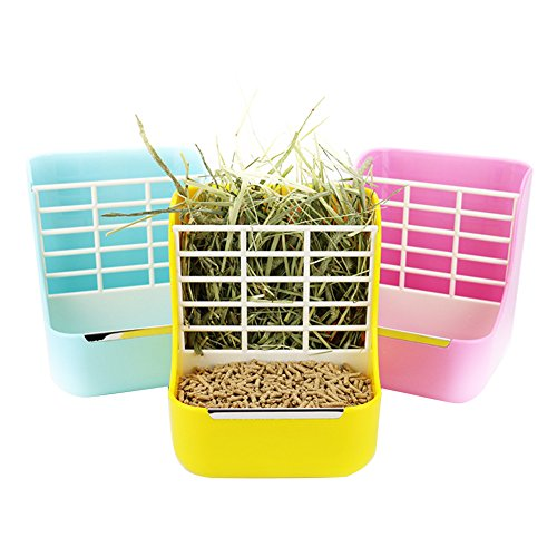 2-in-1 Grass Frame Rabbit Food Pots Fixed Grass Shelf Food Bowl Chinchilla Guinea Pig Food Containers Small Animal Supplies Plastic Pet Rabbit Feeder Bowls Double use for grass/food (Blue)