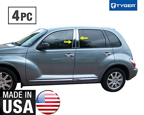 Made in USA! Works with 2000-2010 Chrysler PT Cruiser 4 PC Stainless Steel Chrome Pillar Post Trim ()