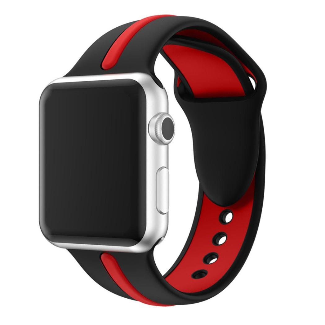 シリコン時計ストラップ、RTYOu ( TM )耐久性新しいスポーツシリコンブレスレットストラップBand for Apple Watchシリーズ1 / 2 38 mm  ブラック B078F6SF91