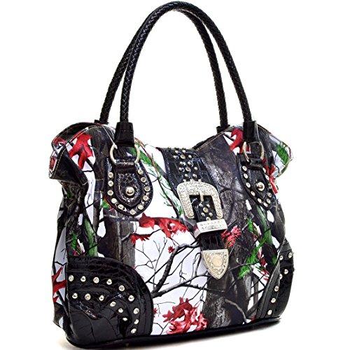 (Western Camo Print Rhinestone Buckle Purse Handbag - Red/Multi Colors)