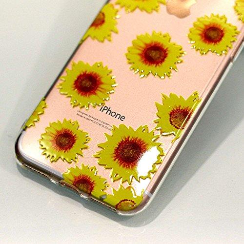 iPhone 8 Hülle , Leiai Modisch Sonnenblume TPU Transparent Clear Weich Tasche Schutzhülle Silikon Handyhülle Stoßdämpfende Schale Fall Case Shell für Apple iPhone 8