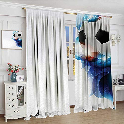 smallbeefly Soccer Thermal Insulating Blackout Curtain Soccer Ball Surrounded by Art Graphic Vivid Petals Football Game Theme Decorative Curtains For Living Room 96