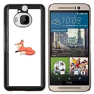 Dragon Case - FOR HTC One M9+ / M9 PLUS - fox minimalist drawing kids white orange - Caja protectora de pl??stico duro de la cubierta Dise?¡Ào Slim Fit