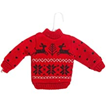 Midwest Gift Red and Black Reindeer 'Ugly Sweater' Ornament